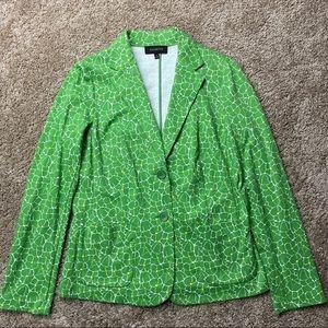 Talbots Green Floral Print Knit Blazer M